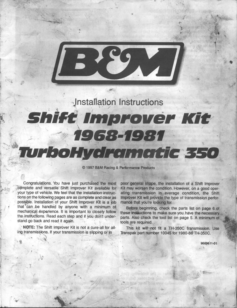 Bm Th350 Shift Kit Instructions